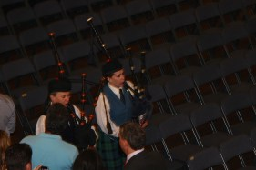 Bagpipes leading us in
