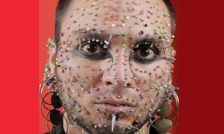 Axel Rosales, who has 280 piercings on his face