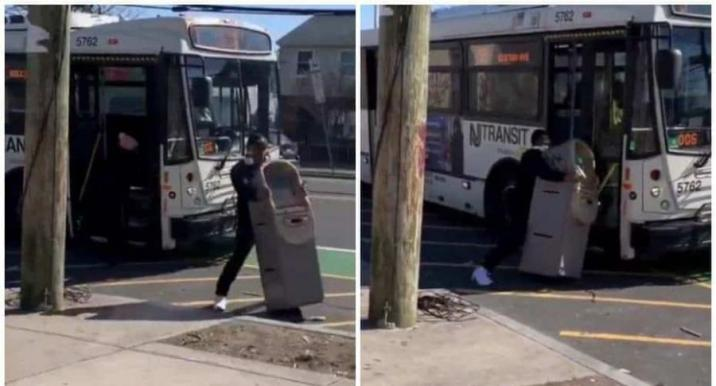 He tries to escape with ATM machine via minibus, but driver gives him a hard lesson [Video]