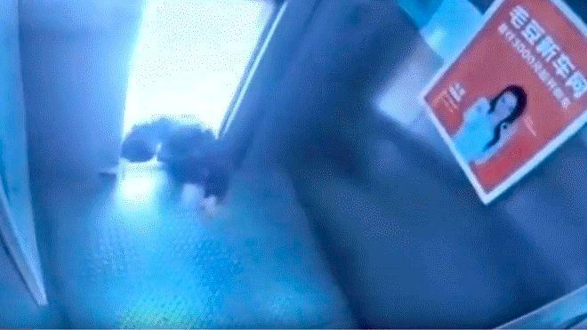 Old Chinese woman saves herself from elevator in last second