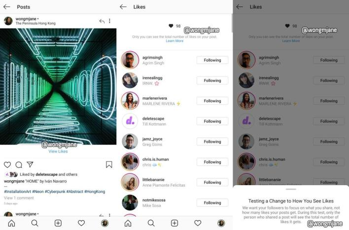 Instagram is considering hiding the number of 'likes'