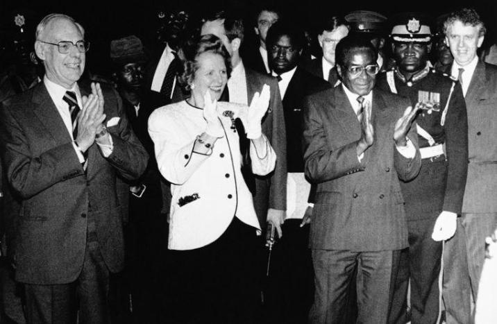 In 1981 with then British Prime Minister Margaret Thatcher and her husband Dennis.