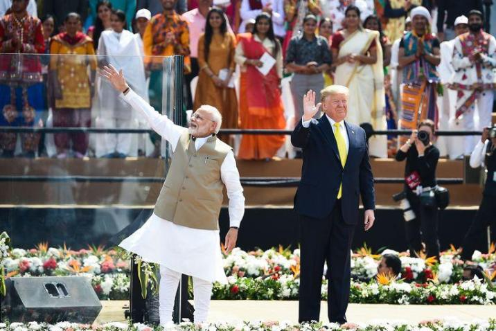 Prime Minister Modi and President Trump Monday during a speech in India.