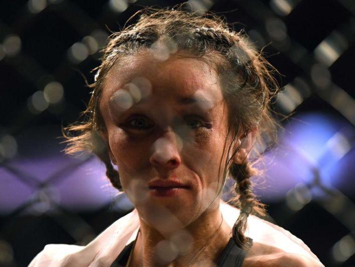 Joanna Jedrzejczyk After the cage fight.