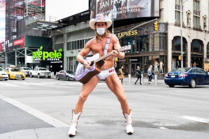 Cowboy, America's most famous street musician, will be performing with a mouth mask in the near future.