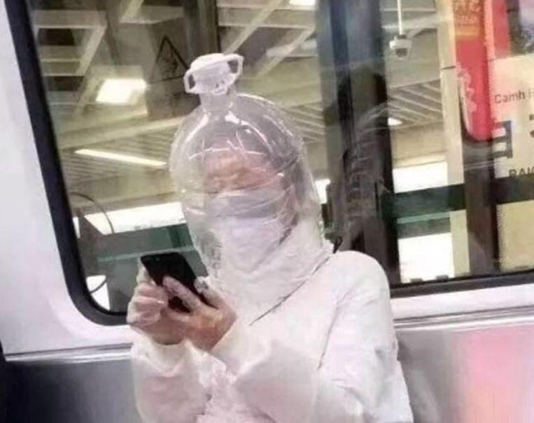 How crazy corona fears are: commuters in London, China creatively protect themselves
