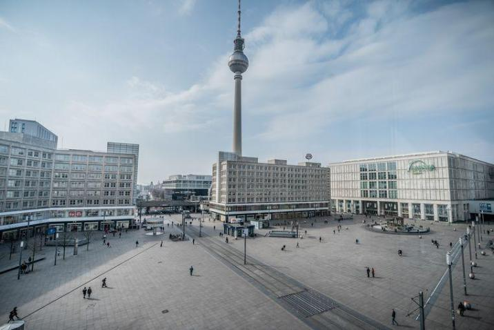 The Alexanderplatz in Berlin, normally one of the busiest shopping streets in the German capital.