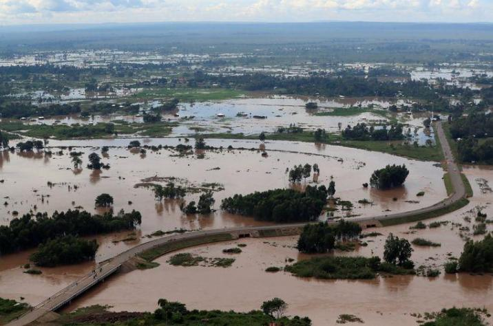 An aerial photo shows the disaster area in Budalangi in Kenya.