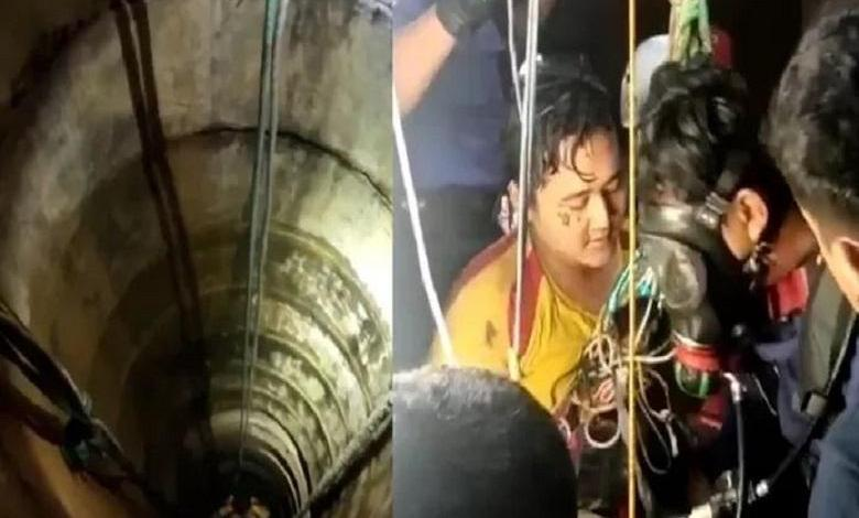 Bowo (18) unharmed after falling into a 27 meter deep well