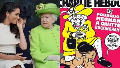 Queen Elizabeth suffocates Meghan Markle with her knee on cover 'Charlie Hebdo'