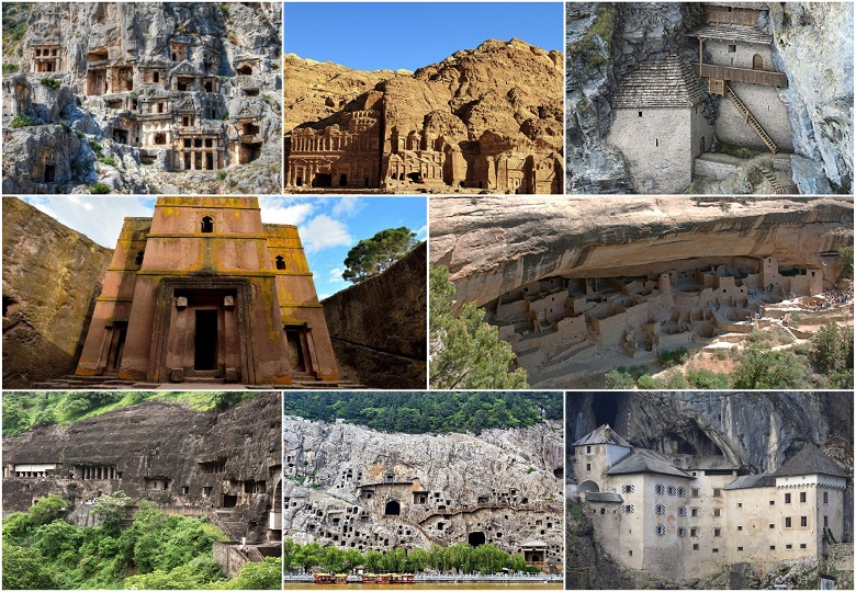 Ancient beautiful castles and temples carved in caves and rocks