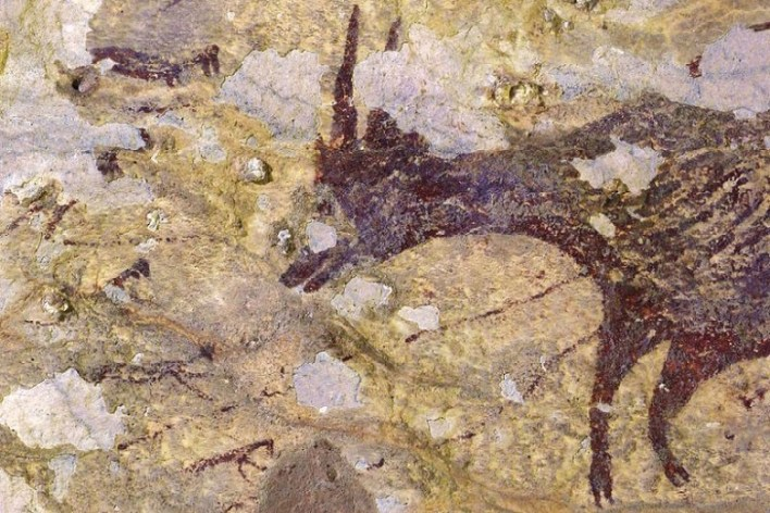 Abstract rock paintings from Indonesia