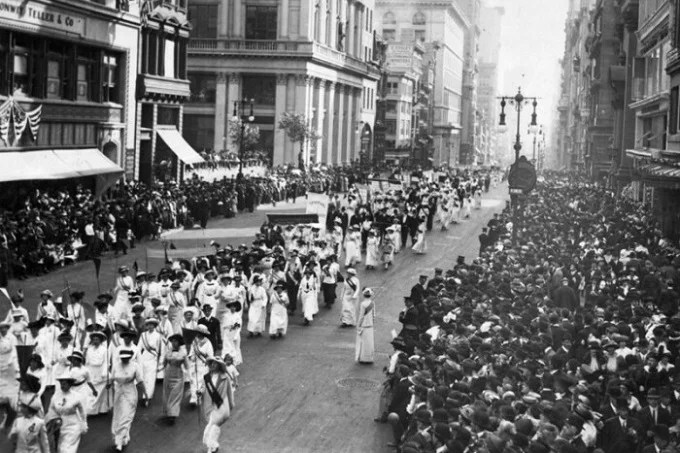 American suffragettes in New York, 1912