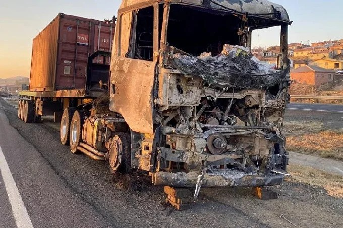 Truck burned as a result of unrest in South Africa