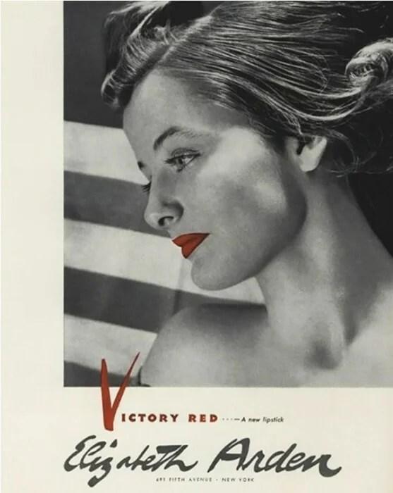 An archival poster for Elizabeth Arden lipstick during World War II