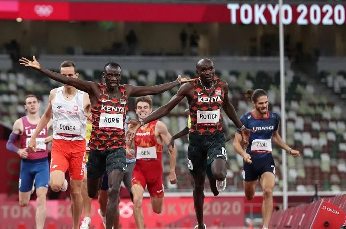 The two Kenyans wowed the crowd on Wednesday by finishing first and second, respectively