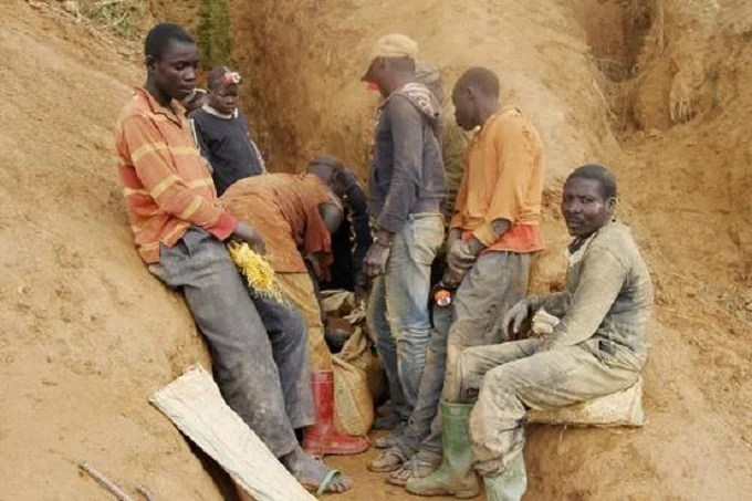 Local miners at gold-mine tunnel in the Democratic Republic of Congo, in a 2014 photo