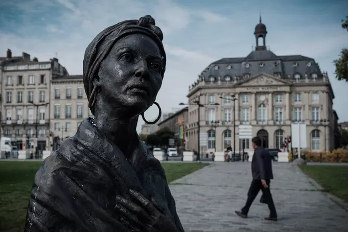 The statue of the African slave Modeste Testas in Bordeaux.