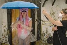 "Lady Gaga and Ariana Grande present weather forecast: ""We are soaked"""