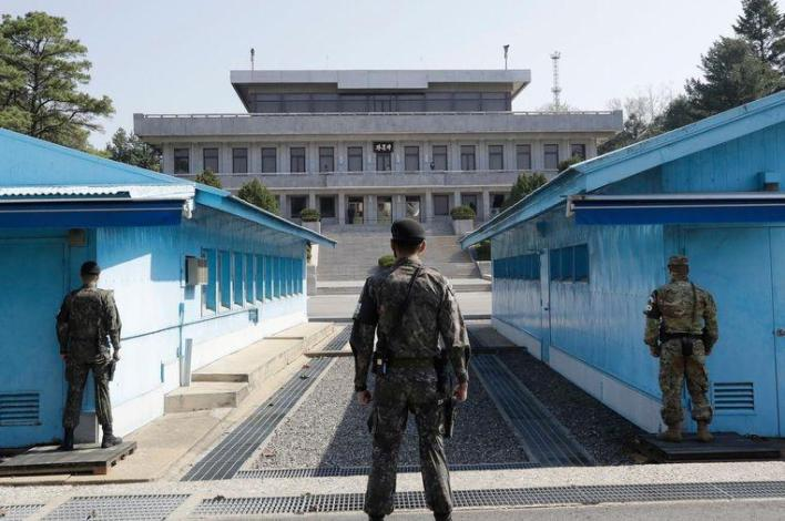 The demilitarized zone on the border between North and South Korea.
