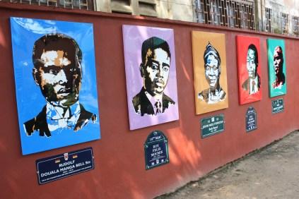 Dans la cour de la galerie Doual'Art / In the courtyard of Doual'Art modern art gallery