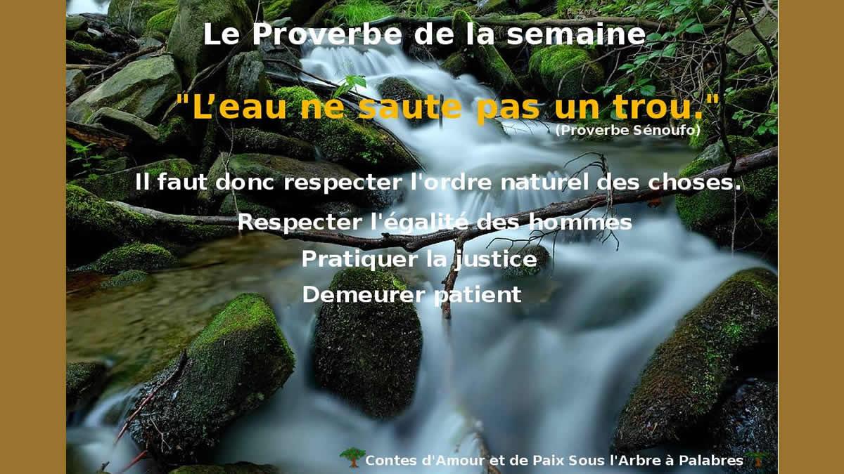 Proverbe Sénoufo – L'eau ne saute pas un Trou