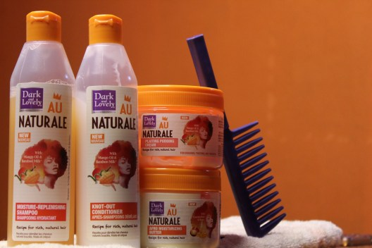 L-R: Moisture-Replenishing Shampoo, Knot-Out Conditioner, Plaiting Pudding Cream and Afro Moisturizing Butter.