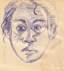 Ball point pen on newsprint (1987) (Click to enlarge)