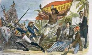 Caricatura de La Flaca (16-I-1873) sobre la lucha en España entre abolicionistas y esclavistas.