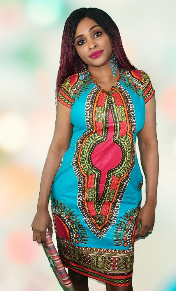 Turquoise dashiki print pencil dress
