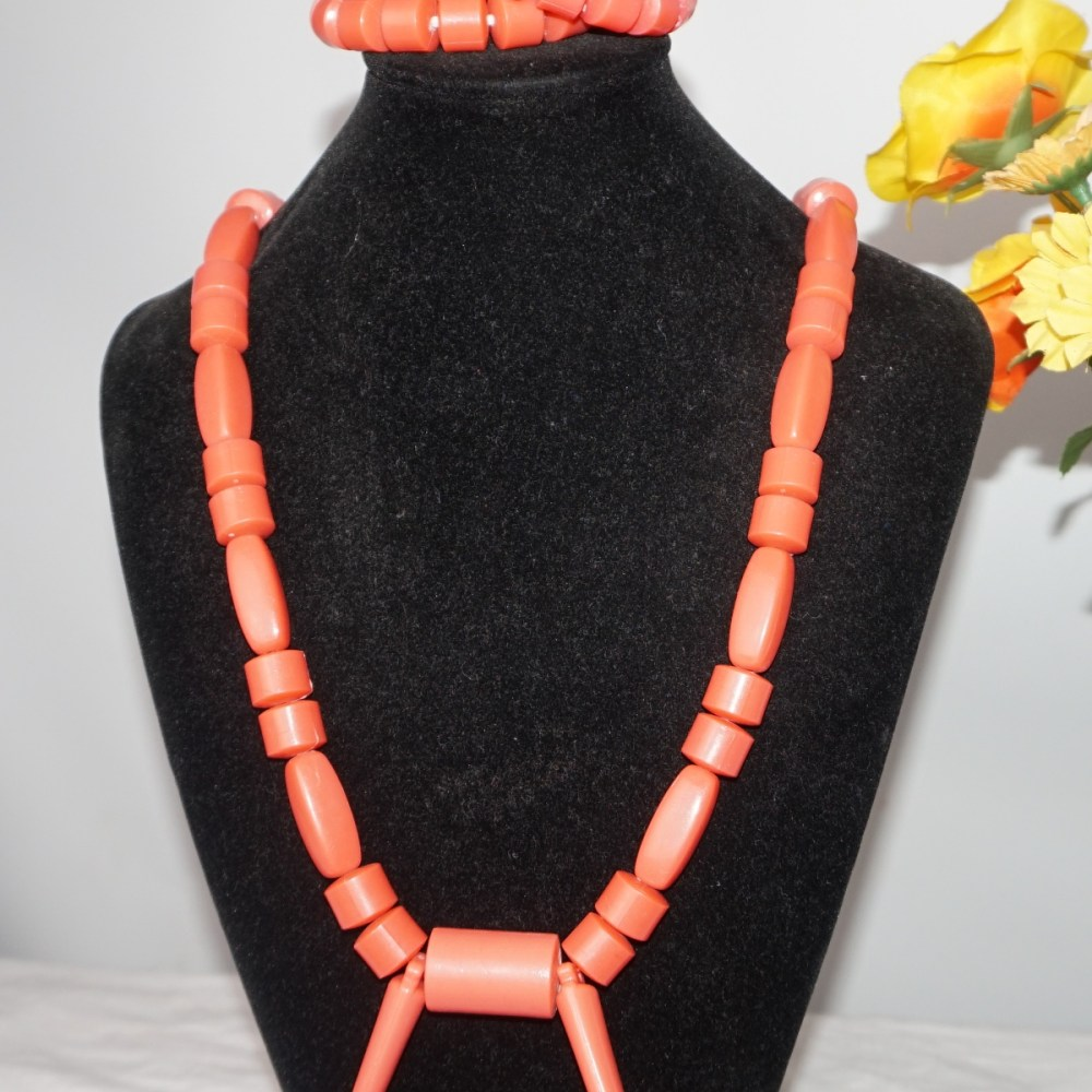 Traditional Igbo men's elephant tusk necklace set