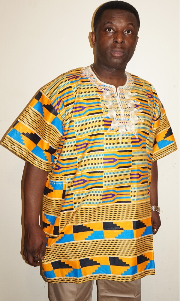Kente African print shirt with embroidery