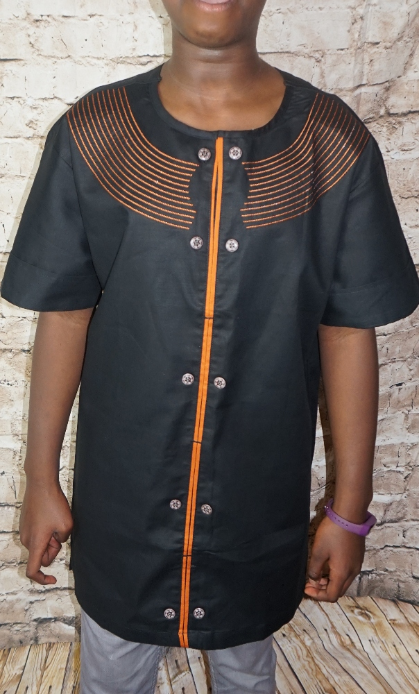 Black and orange African style short sleeved shirt