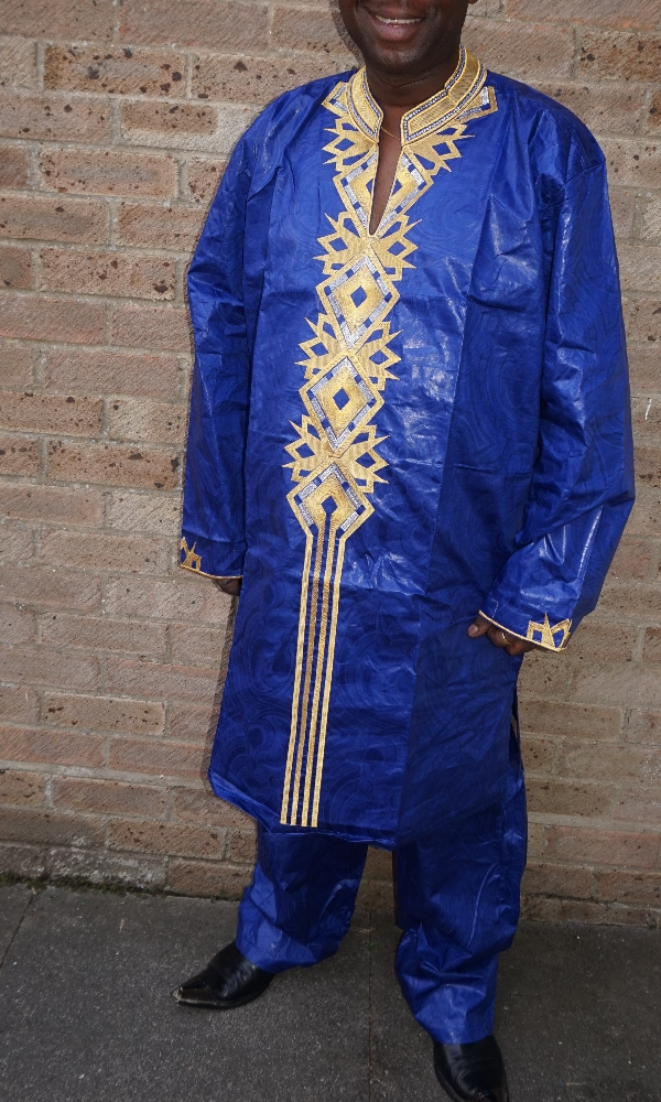 Men's royal blue and gold embroidered 2 piece set