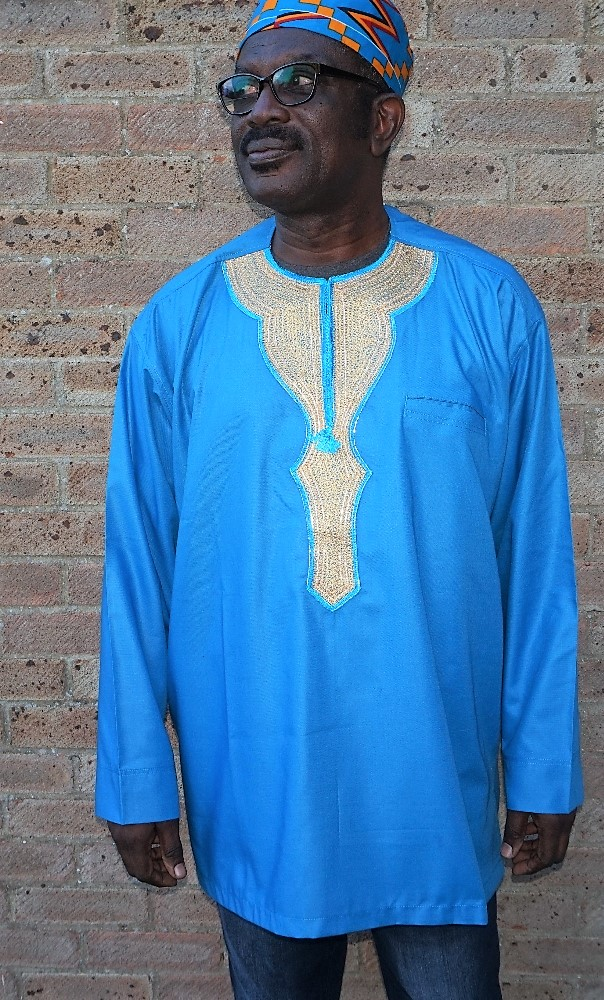 Blue and gold embroidered long sleeved shirt