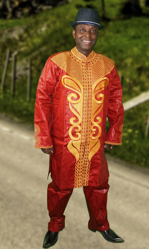 Men's red and gold embroidered 2 piece set