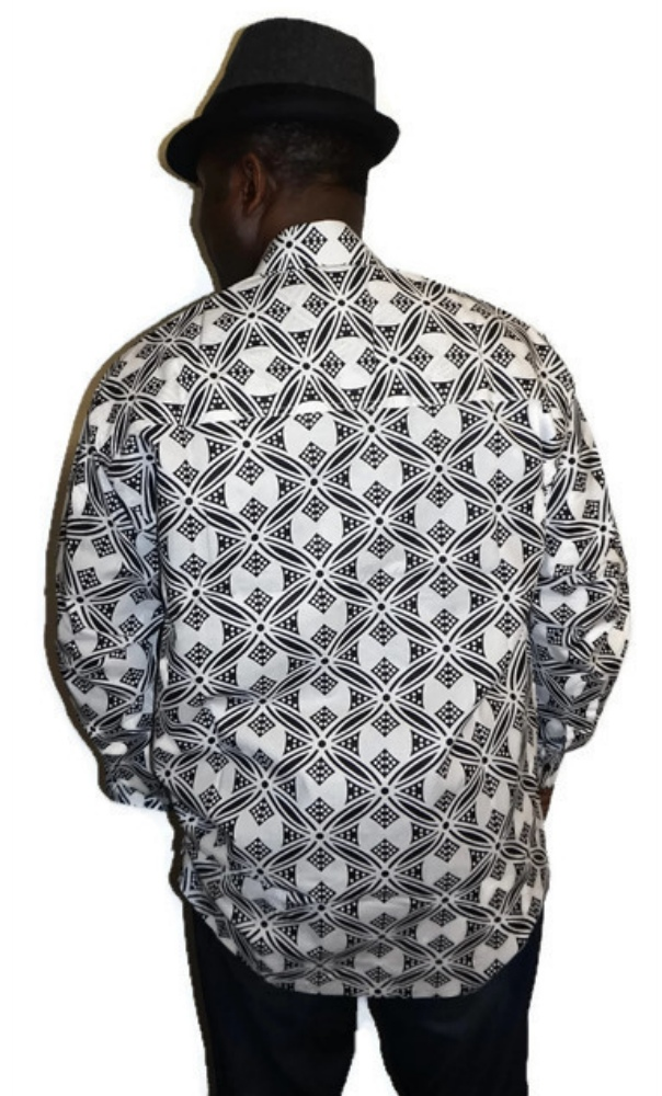 Black and white African bow print long sleeved shirt