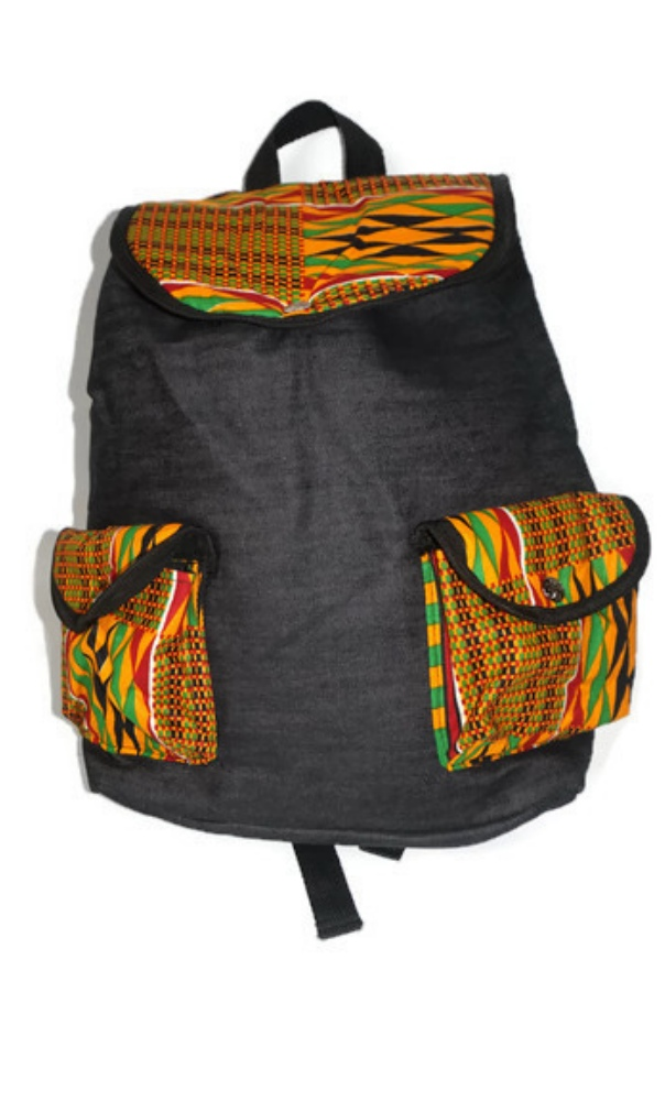 denim and kente backpack