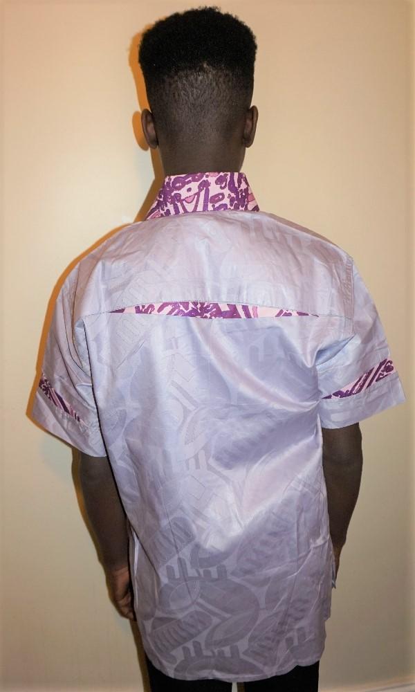 Lilac and African print combination short sleeved shirt