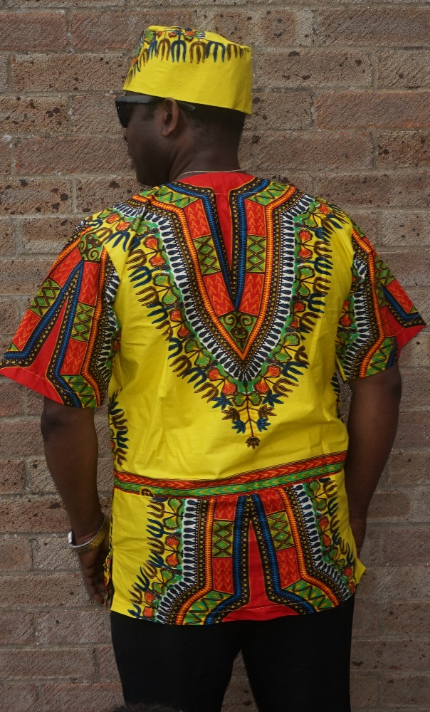 Quality yellow dashiki print shirt