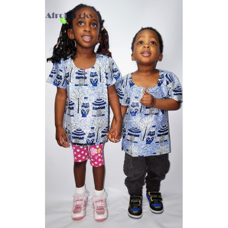 kids-unisex-blue-african-village-hut-scene-print-shirt