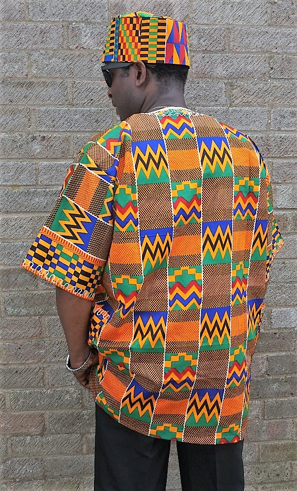 Kente African shirt with embroidery