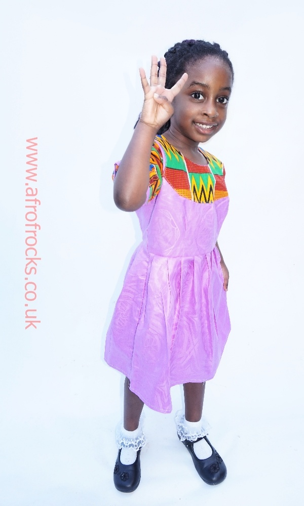 Kente and purple combi style dress