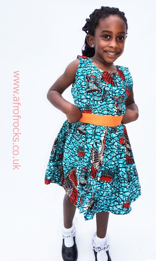 Girls Ankara African print sleeves dress
