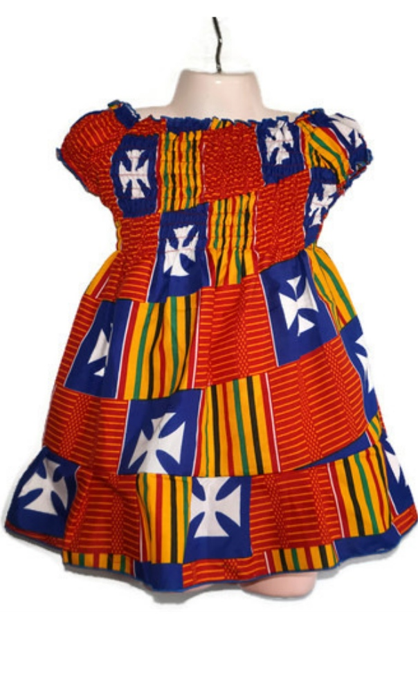 Baby kente African print shirred dress