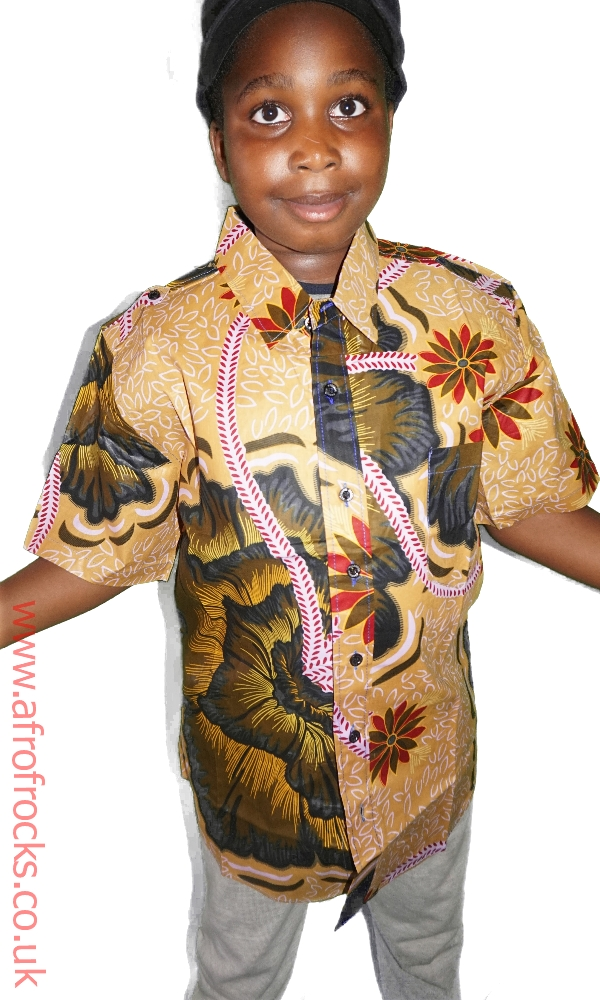Boys flower print short sleeved shirt