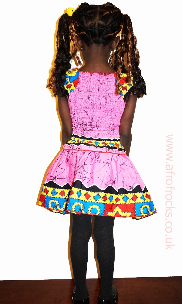 Pinky multi African print girls shirred top and skirt set