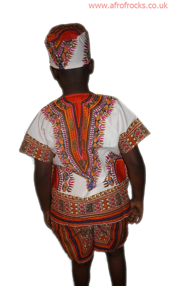 Orange and white dashiki shorts and top set