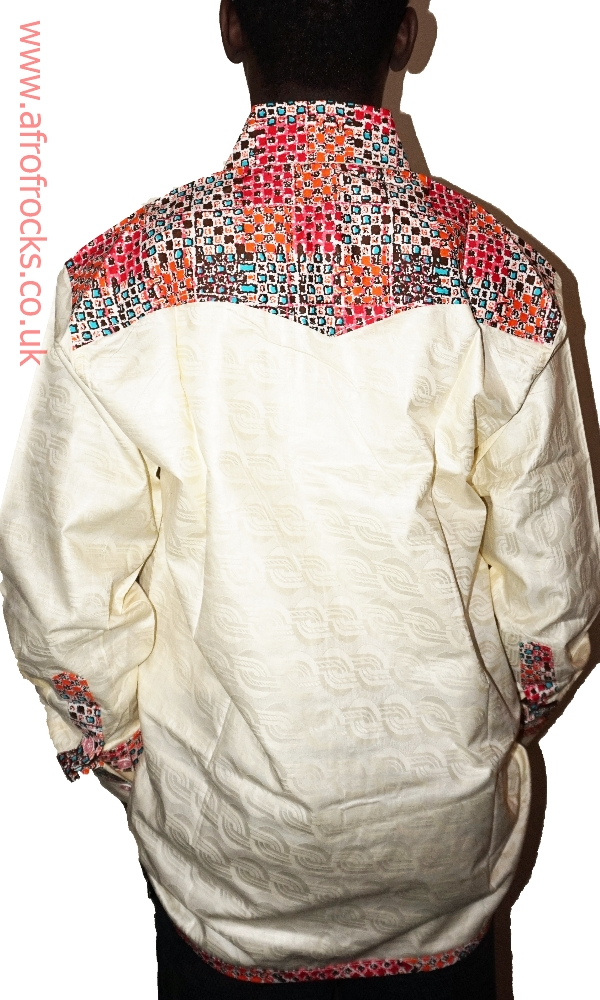 Cream and African print combi shirt
