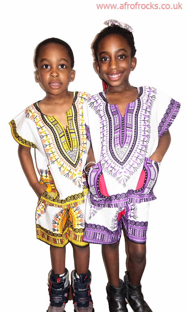 Unisex kids dashiki print shorts and top set
